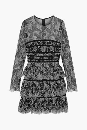 HALSTON HERITAGE Tiered cotton-blend lace mini dress