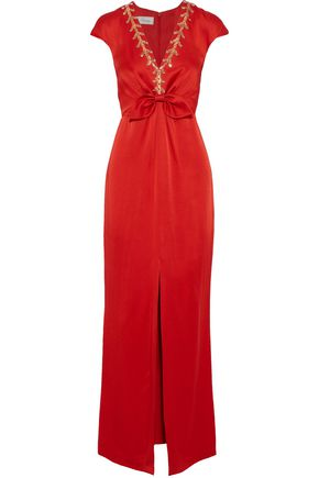 TEMPERLEY LONDON Nile knotted embellished satin-crepe gown