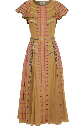 TEMPERLEY LONDON Expedition embroidered cotton-gauze midi dress