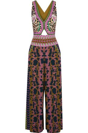 TEMPERLEY LONDON Odyssey cutout printed crepe de chine jumpsuit