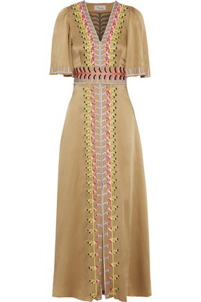 TEMPERLEY LONDON Traveller embroidered satin-crepe maxi dress