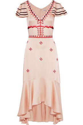 TEMPERLEY LONDON Traveller embroidered satin-crepe midi dress