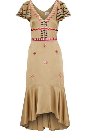 TEMPERLEY LONDON Traveller embroidered satin-crepe midi dress