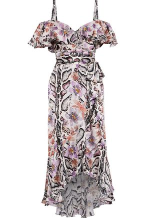 TEMPERLEY LONDON Safari cold-shoulder printed hammered-silk midi dress