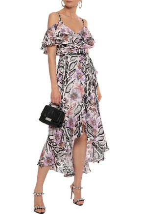 TEMPERLEY LONDON Safari cold-shoulder printed hammered-silk midi dress