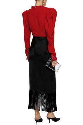 MAGDA BUTRYM Marsala wrap-effect embellished silk-crepe bodysuit