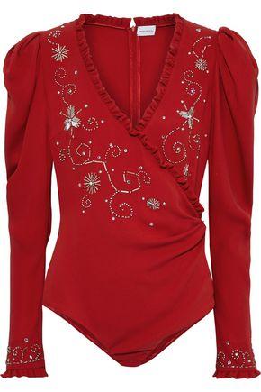 MAGDA BUTRYM | Magda Butrym Marsala Wrap-effect Embellished Silk-crepe Bodysuit | Goxip
