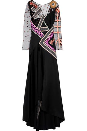 TEMPERLEY LONDON Kite embroidered tulle-paneled satin-crepe gown