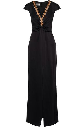 TEMPERLEY LONDON Nile Tie split-front embellished satin-crepe gown