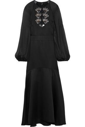 TEMPERLEY LONDON Nile chiffon-paneled embellished satin-crepe midi dress