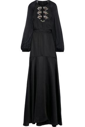 TEMPERLEY LONDON Nile chiffon-paneled embellished satin-crepe gown