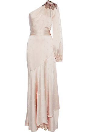 TEMPERLEY LONDON Parachute one-shoulder embellished satin-jacquard gown
