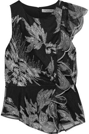 HALSTON HERITAGE Ruffle-trimmed embellished tulle top
