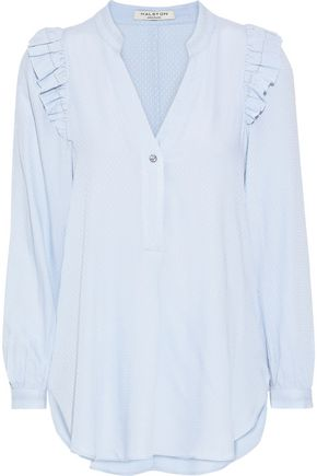 HALSTON HERITAGE Ruffle-trimmed jacquard blouse