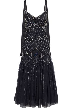 TEMPERLEY LONDON Satin-trimmed flared embellished tulle midi dress