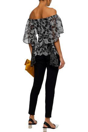 HALSTON HERITAGE Off-the-shoulder draped metallic cotton-blend lace top