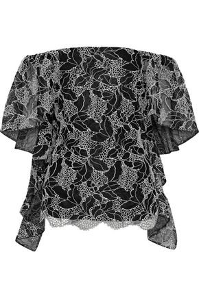 HALSTON HERITAGE Off-the-shoulder draped metallic cotton-blend lace top