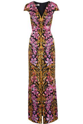 TEMPERLEY LONDON Safari split-front printed hammered silk-satin gown