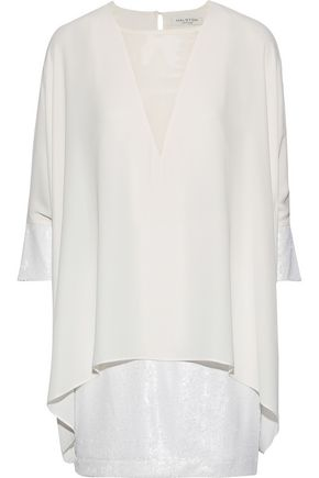 HALSTON HERITAGE Layered georgette-paneled crepe and sequined tulle mini dress
