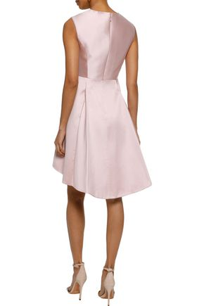 HALSTON HERITAGE Pleated duchesse-satin mini dress