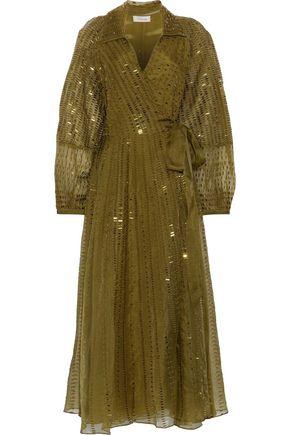 TEMPERLEY LONDON Jet sequin-embellished silk-organza midi wrap dress