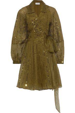 TEMPERLEY LONDON Sequin-embellished silk-organza wrap dress