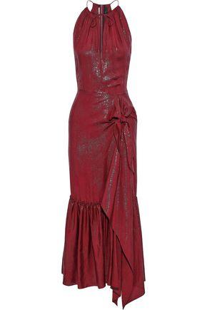 ROLAND MOURET Miranda asymmetric silk-blend lamé-jacquard midi dress