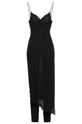 BALMAIN Wrap-effect layered crepe jumpsuit
