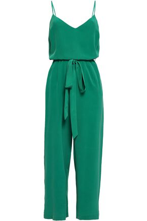 L'AGENCE Cropped washed-silk jumpsuit