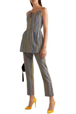 Rosie Assoulin Woman Strapless Houndstooth Wool And Silk-Blend Peplum Top Gray