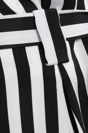 L'AGENCE Alex belted striped silk shorts