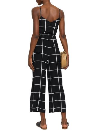 L'AGENCE Jaelyn belted checked silk-crepe jumpsuit