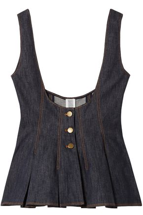 ROSIE ASSOULIN Cotton and linen-blend denim peplum top