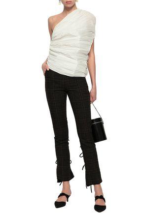 ROSIE ASSOULIN One-shoulder plissé-satin top