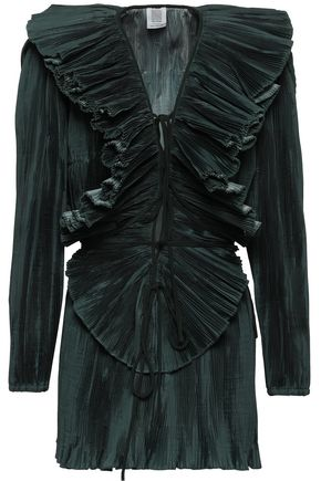 ROSIE ASSOULIN Ruffled plissé-satin blouse