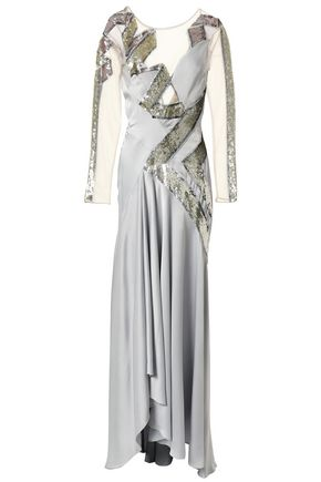 TEMPERLEY LONDON Fluted sequined tulle and satin-crepe gown