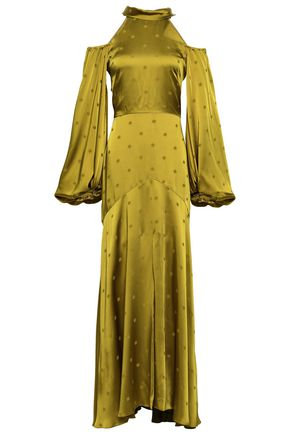 TEMPERLEY LONDON Betty cold-shoulder tie-neck satin-jacquard gown