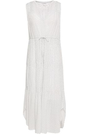 JAMES PERSE Gathered printed mousseline midi dress