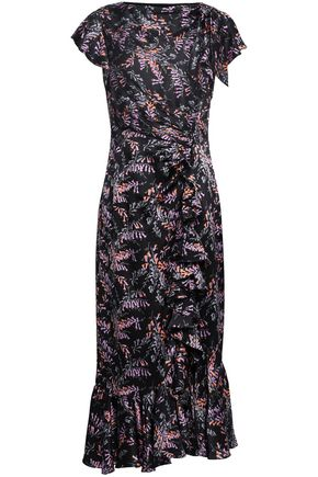 b2da7ba41495d CINQ À SEPT Ruched floral-print silk-satin midi dress