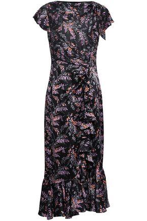 CINQ À SEPT Ruched floral-print silk-satin midi dress