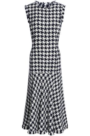 OSCAR DE LA RENTA Frayed houndstooth wool-blend jacquard midi dress
