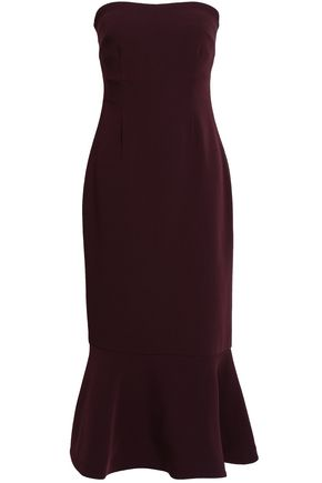 CINQ À SEPT Luna strapless fluted crepe midi dress