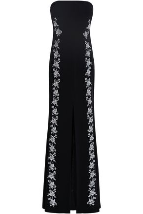 CINQ À SEPT Eva strapless embroidered crepe maxi dress