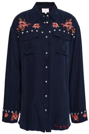 CINQ À SEPT Studded embroidered twill shirt