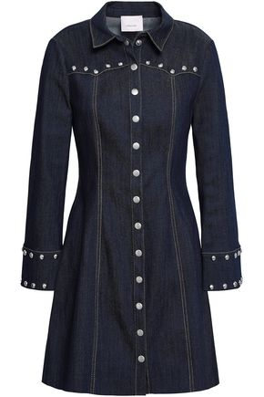 CINQ À SEPT Studded denim mini dress