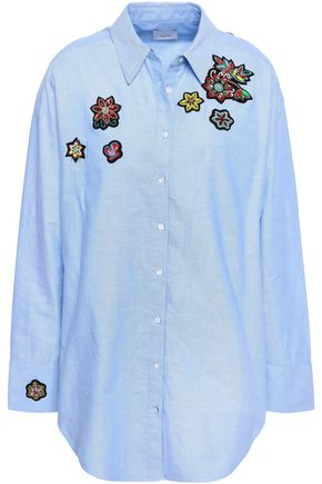 CINQ À SEPT Embellished cotton-poplin shirt