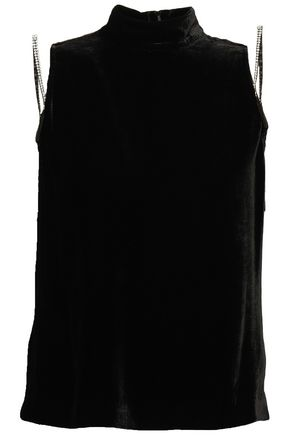 McQ Alexander McQueen Crystal-embellished velvet turtleneck top