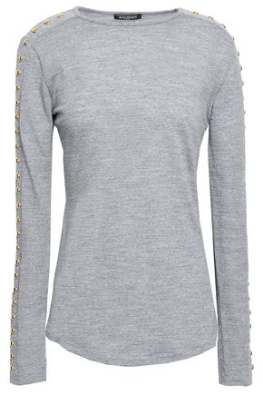 BALMAIN Studded wool-jersey top