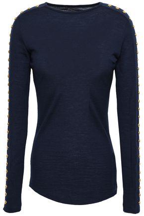 BALMAIN Studded wool-jersey top