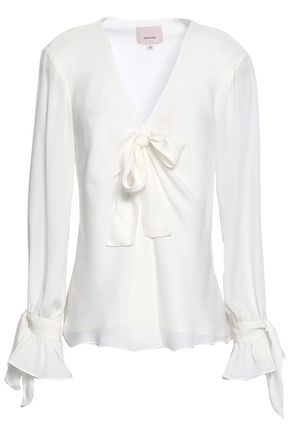 CINQ À SEPT Bow-detailed silk-chiffon blouse